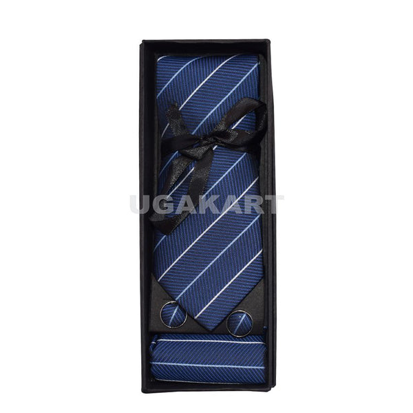 Blue Tie With White Stripe And Cufflinks