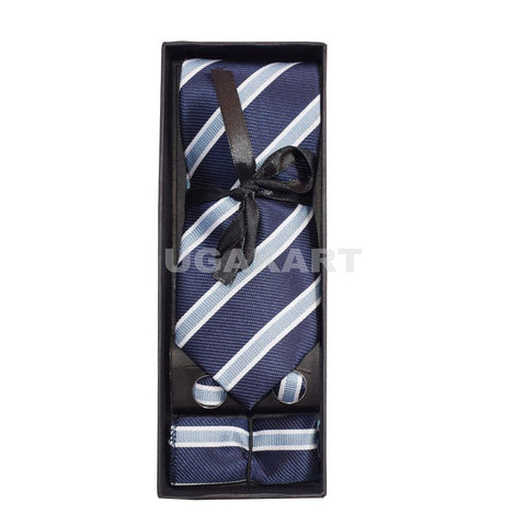 White With Black Stripes Tie With Cufflinks