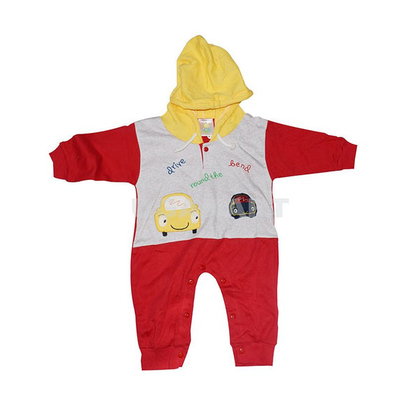 Red And Grey Babies Overall With Yellow Hood (6 Month To 1 Yr)