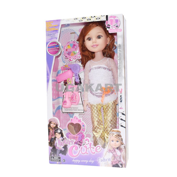 Beauty Cute White And Golden Doll With Accessories