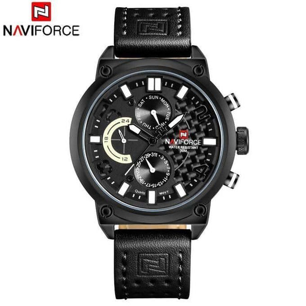 Naviforce Leather Belt Black Men's Watch