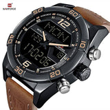 Naviforce Black Men's Watch With Brown Leather Belt