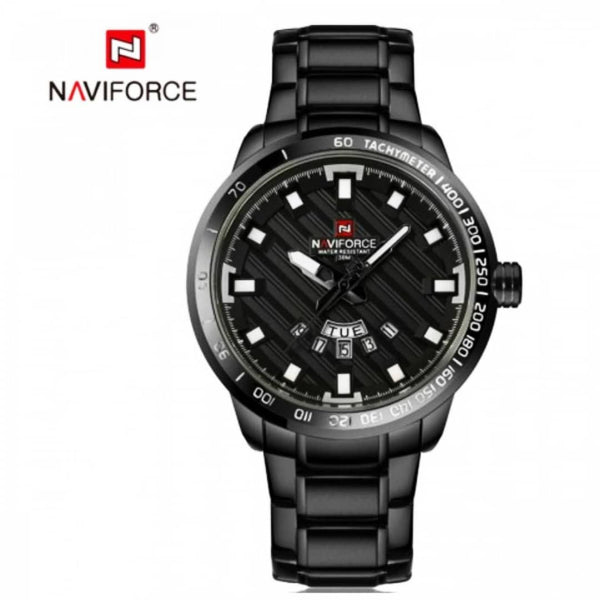 Naviforce Metalic Round Dial Black Men's Watch
