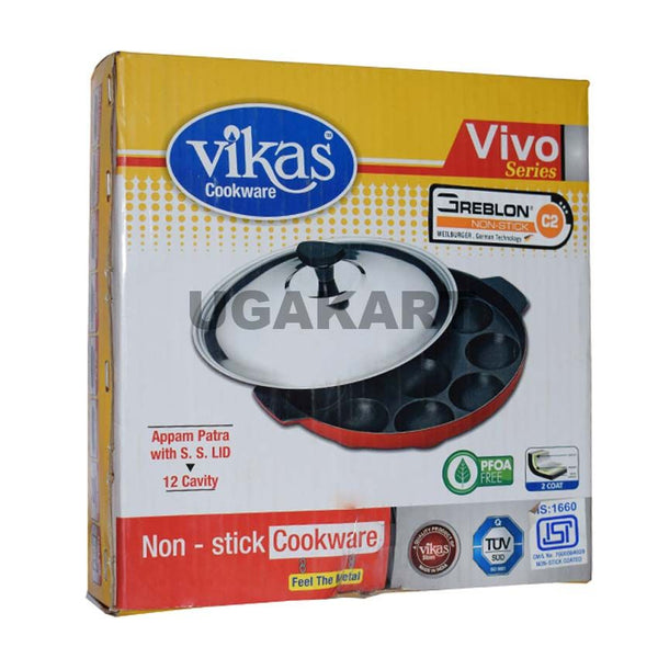 Vikas Cookware Appam Patra(12 Cavity)With S.S.Lid