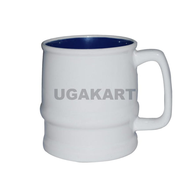 Set Of Two White Ceramic Mug With Navy Blue Mantle