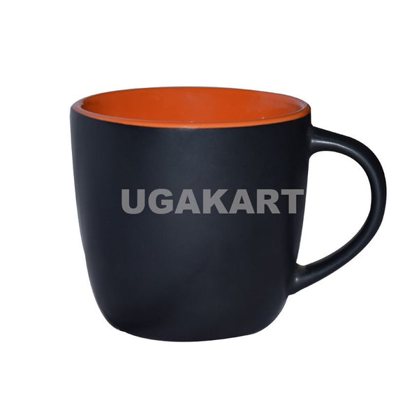 Set Of Two Black Ceramic Mug With Orange Mantle