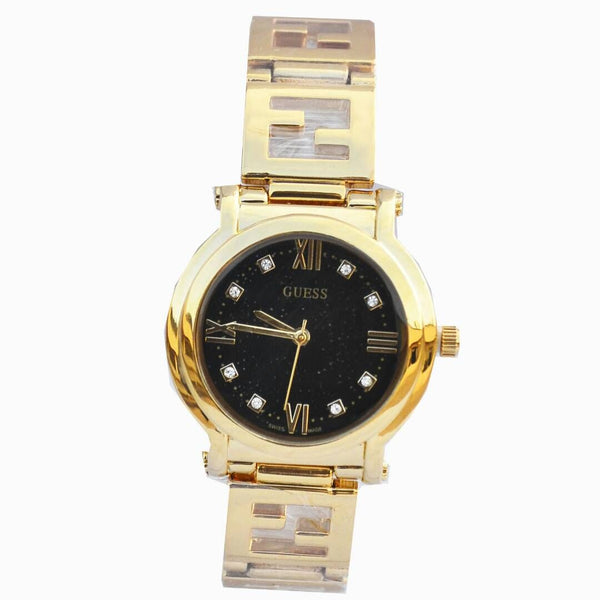 Guess Gold Men's Watch With Black Dial