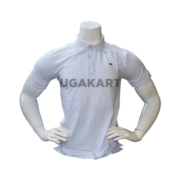 White Short Sleeved T-Shirt With Collar