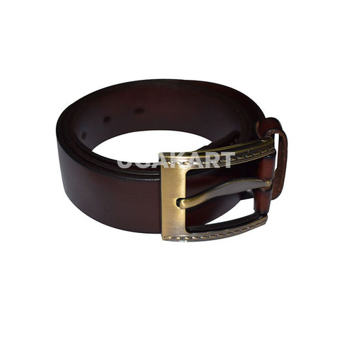 Coffee Brown Leather Belt