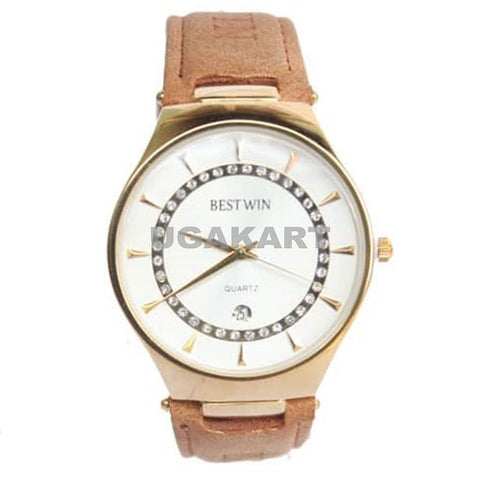 Bestwin Unisex Watch With White Dail And Brown Leather Belt