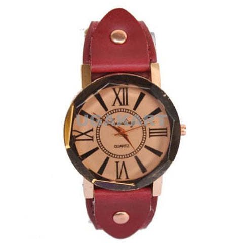 Landing Quartz Ladies Watch With Maroon Leather Belt And Cream Dial