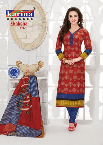 Women's Marooncotton Dress Material With Dupatta
