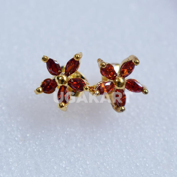 Gold Earpin With Red Crystal