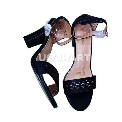 Lilas Black Leather Ladies High Heels