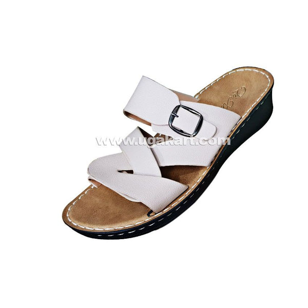 Qi Xun White And Brown Leather Ladies Sandals