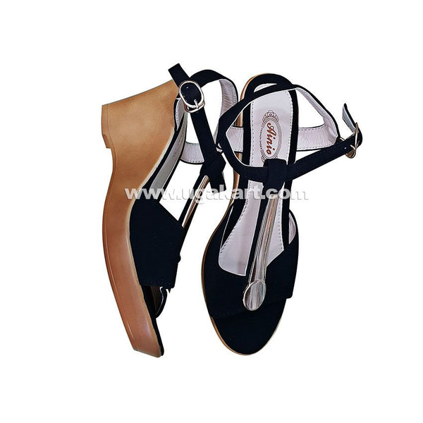 Ainia Black Ladies Shoes With Brown Wedge