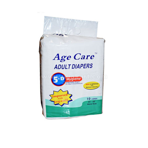 "Age Care Adult Diapers 10 large (waist SIZE-45""-60"")"