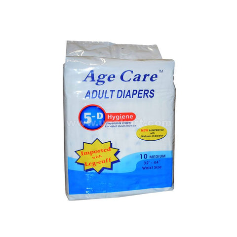 "Age Care Adult Diapers 10 medium (waist SIZE-32""-44"")"