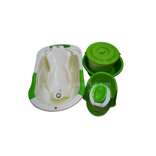 A Set Of Four, Baby Bath Tub, Geen Baby Potty, Green Bucket And Basin
