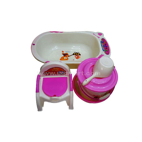 A Set Of Four, Baby Bath Tub, Pink And White Chair Baby Potty, Bucket And Basin