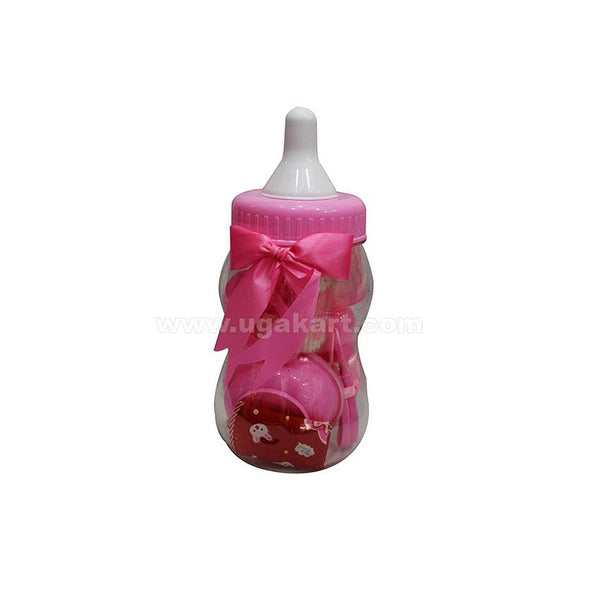 Pink Baby Feeding Bottle Shaped Gift Pack (bottle bank)