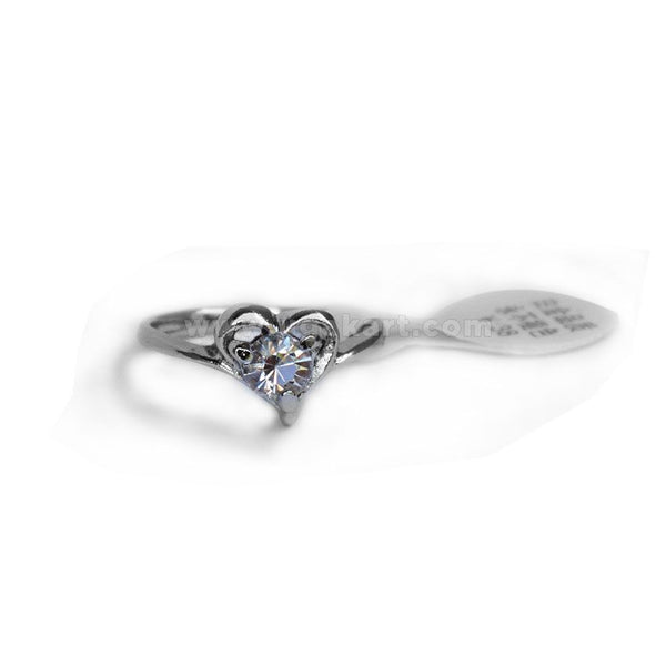 Silver Ring With Diamond Stone