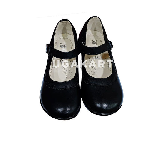 Black Leather Girls School Shoes(5 to 13 yrs)