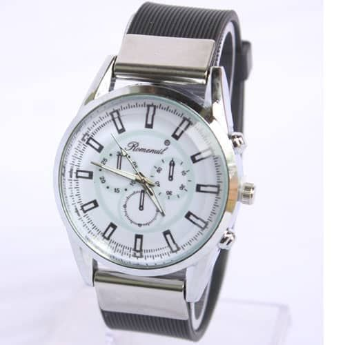 Remenuil Silver and Black Rubber Strapped Mens Watch