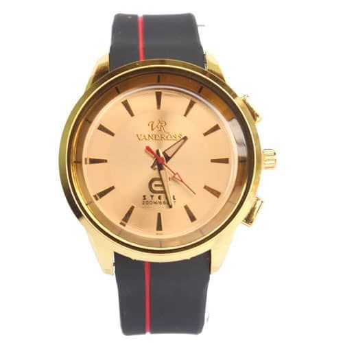 VANDROSS Gold & Black Rubber Strapped Mens Watch