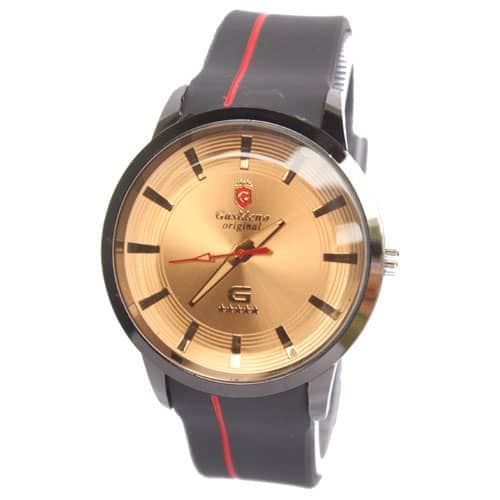 GASRRENO Original Gold & Black Rubber Strapped Mens Watch