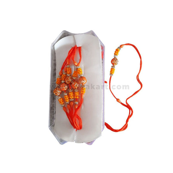 Rakhi With Orange Thread