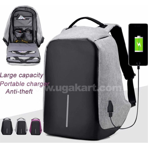 Anti-theft laptop bag with USB Charger Waterproof Large capacity bags-Grey & Black
