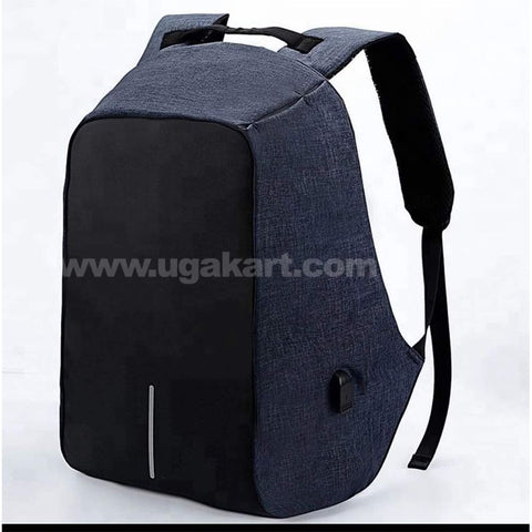 Anti-theft laptop/ backpack bag with USB charger-Blue & Black