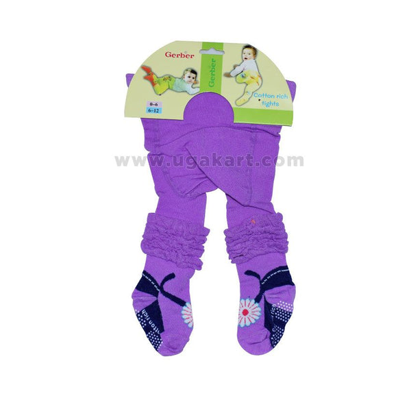 Gerber Purple Cotton Rich Tights (Body Socks) (0-12 months)