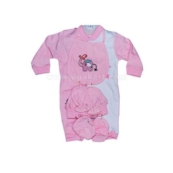Baby's Pink Overall, Feeding Bib With Head And Feet Socks (0-12 Months )