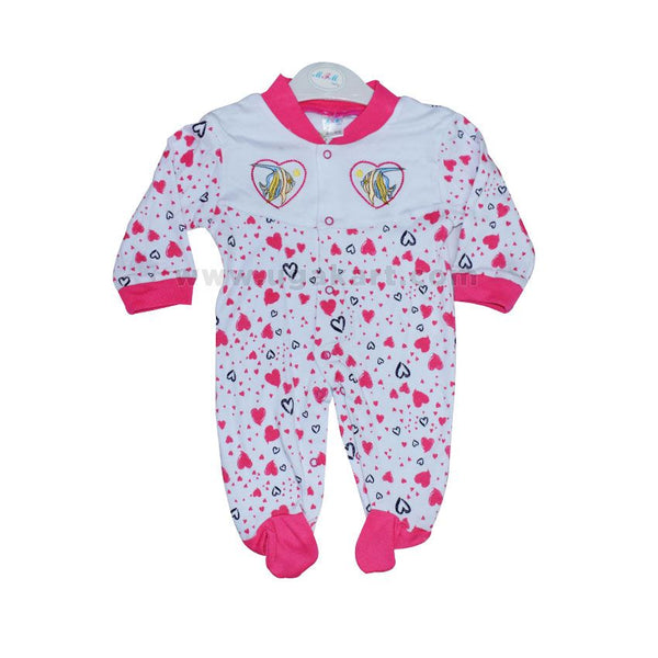 Baby's Pink Heart And White Overall (0-6 Months )