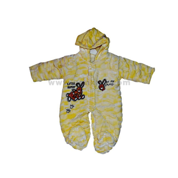 Yellow Cotton Hooded Babies Overall With Feet Velour