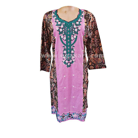 Pink Embroided With Printed Brown Back Pakistani Lawn Kurti - Size L