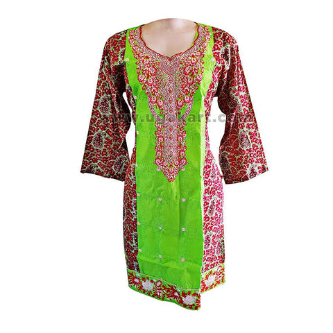 Parriot Green And Red Embroided Pakistani Lawn Kurti - Size L