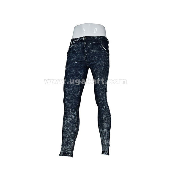 Black Print Fitting Jeans for mens