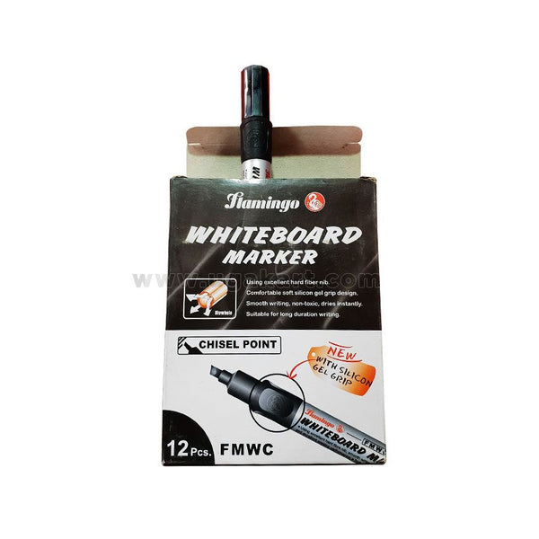 Flamingo WhiteBoard Marker-Chisel Point (Chisel Point) Black