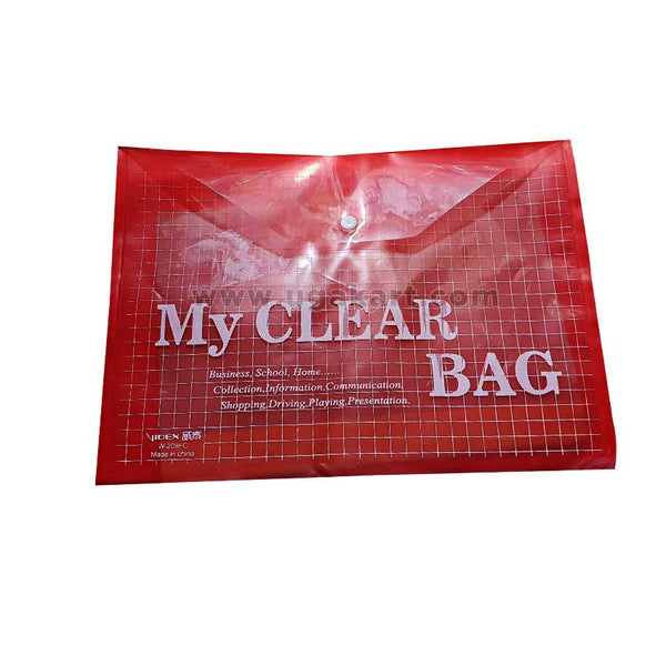 My Clear Bag Red Plastic File Folder