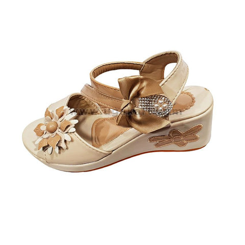 Cream And Brown Kids Wedge Shoes