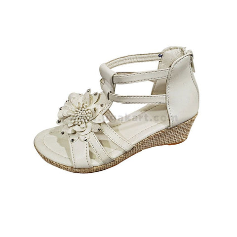 White Short Wedge Kids Open Shoes