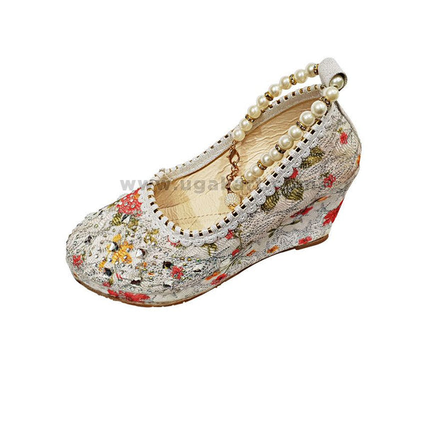 White Floral Kids Wedge Shoes With Pearl Beads
