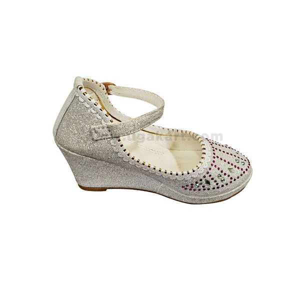 Silver Wedge KidsParty Shoes