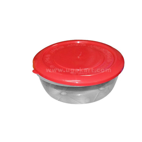 Round colourless Tiffin With Red Cover
