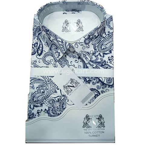 Mens Formal Long Sleeved Designer Shirt - White and Blue Design