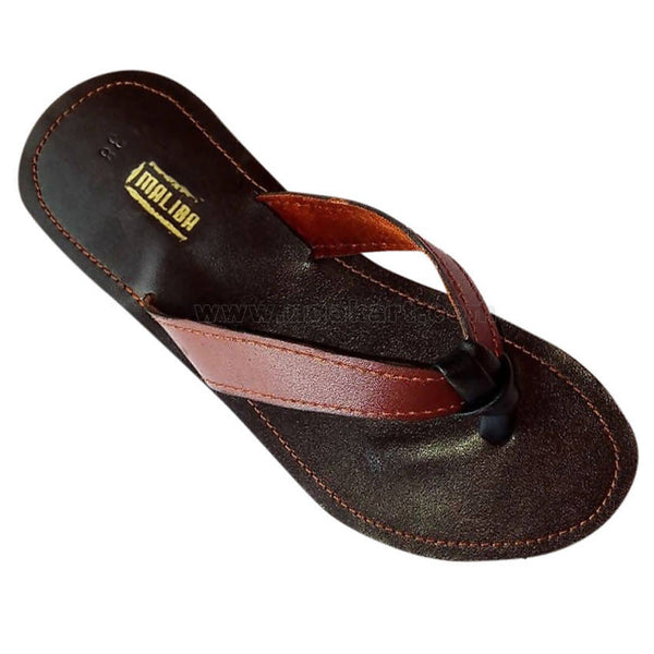 Brown and Black Leather Strap Sandal For Women