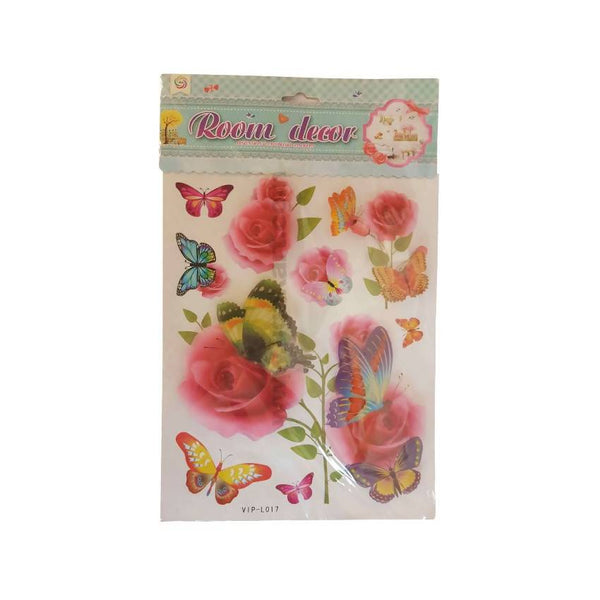 Room Decor Stickers Rose And Butterfly